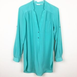 ZOA New York   Anthro Teal High Low Tunic Blouse
